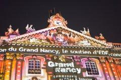 斯坦尼斯拉斯广场的夜照明在南希的历史中心 库存照片