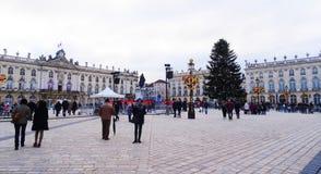 斯坦尼斯拉斯广场,圣诞节,南希 免版税库存照片