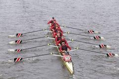 斯坦福人的乘员组在查尔斯赛船会人的主要Eights头赛跑  免版税图库摄影