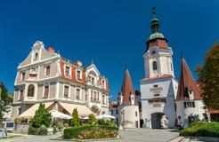 斯坦纳突岩, 15世纪门在奥地利的多瑙河畔克雷姆斯,瓦豪谷 库存图片