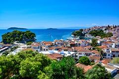 斯基亚索斯岛,希腊美丽的景色  免版税图库摄影