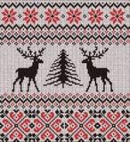 斯堪的纳维亚冬天装饰品 无缝被编织的模式 向量例证