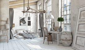 斯堪的纳维亚卧室内部 库存图片