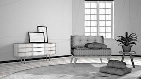 斯堪的纳维亚最低纲领派客厅未完成的项目有大圆的地毯和沙发的有枕头的,现代室内设计 皇族释放例证