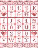 斯堪的纳维亚样式字母表由挪威圣诞节,欢乐在发怒针的冬天无缝的样式启发了与心脏,雪 向量例证
