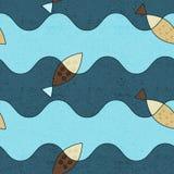 斯堪的纳维亚鱼 无缝明亮的模式 免版税库存照片
