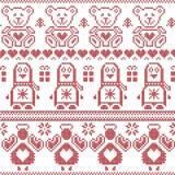 斯堪的纳维亚与企鹅的葡萄酒圣诞节北欧无缝的样式,天使,玩具熊, xmas礼物,心脏,装饰装饰品, 免版税库存照片