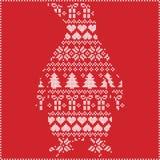 斯堪的纳维亚北欧与企鹅形状的冬天缝的编织的圣诞节样式包括雪花,心脏,树圣诞节 库存图片