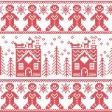 斯堪的纳维亚北欧与姜饼人,星,雪花,姜房子,树, xmas礼物, reinde的圣诞节无缝的样式 免版税库存图片