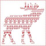 斯堪的纳维亚北欧冬天缝的编织的圣诞节样式在驯鹿身体形状包括雪花,心脏 库存图片