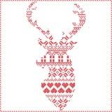 斯堪的纳维亚北欧冬天针,编织的圣诞节样式在驯鹿形状形状包括雪花, xmas树 向量例证