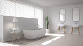 斯堪的纳维亚卫生间,白色minimalistic设计 向量例证