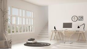 斯堪的纳维亚家庭办公室,顶楼工作场所,最低纲领派内部de 免版税库存照片