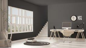 斯堪的纳维亚家庭办公室,顶楼工作场所,最低纲领派内部de 库存图片