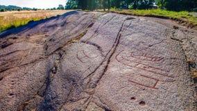 斯堪的纳维亚岩石雕刻 库存图片