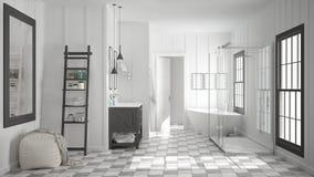 斯堪的纳维亚最低纲领派白色和灰色卫生间,阵雨,浴缸 皇族释放例证