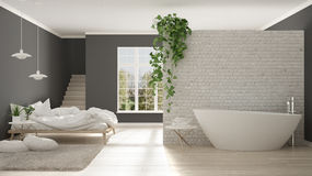 斯堪的纳维亚白色最低纲领派卫生间和卧室,露天场所, 皇族释放例证