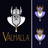 斯堪的纳维亚神Odin例证传染媒介体育队或同盟商标模板 在盔甲吉祥人的强大战士头 库存图片