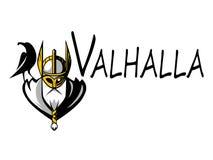 斯堪的纳维亚神Odin例证体育队或同盟商标模板 在盔甲吉祥人的强大战士头 库存照片
