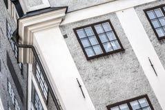 斯堪的纳维亚老城市房子,对角看法 免版税库存图片