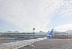 斯堪的纳维亚航空公司在斯德哥尔摩Arlanda机场 库存图片