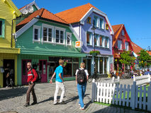 斯塔万格市中心在挪威 库存图片