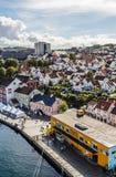 斯塔万格港的一幅全景在挪威 免版税库存图片