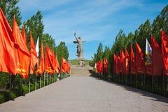 斯大林格勒争斗伏尔加格勒的英雄的Mamaev库尔干 免版税图库摄影