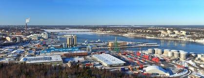 斯德哥尔摩全景端口 免版税库存图片