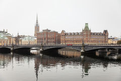 斯德哥尔摩冬天视图  免版税库存图片
