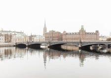 斯德哥尔摩冬天视图  库存照片