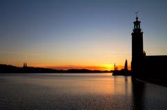 斯德哥尔摩剪影。 免版税库存图片