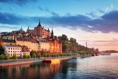斯德哥尔摩在晚上在夏天 免版税图库摄影