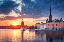 斯德哥尔摩在晚上在夏天 库存图片