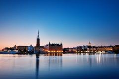 斯德哥尔摩在晚上在夏天 免版税库存图片