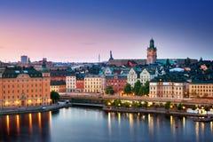 斯德哥尔摩在晚上在夏天 图库摄影