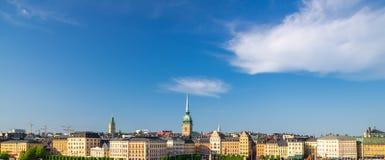 斯德哥尔摩地平线,Swe鸟瞰图与传统建筑的 免版税库存图片