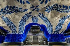 斯德哥尔摩地铁或tunnelbana中央驻地T-Centralen与i 免版税库存图片