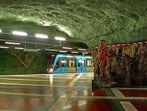 斯德哥尔摩地铁的Kungstradgarden驻地,位于Norrmalm区  免版税库存照片