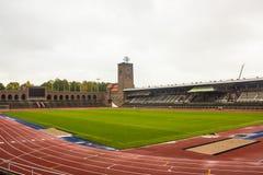 斯德哥尔摩奥林匹克体育场,从西北部的全视图 免版税库存图片