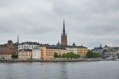 斯德哥尔摩市全景和外推从S的Taubes Terrass 免版税库存图片