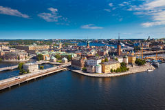 斯德哥尔摩市全景  免版税库存照片