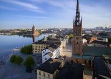 斯德哥尔摩市鸟瞰图  免版税库存图片