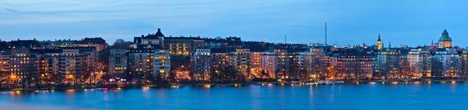 斯德哥尔摩晚上全景 免版税库存照片