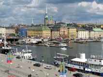 斯德哥尔摩江边 免版税库存照片