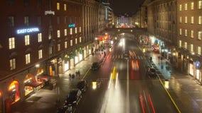 斯德哥尔摩河街道繁忙的城市 股票录像