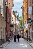 斯德哥尔摩老镇街道视图  免版税库存照片