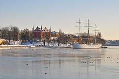 斯德哥尔摩视图冬天 免版税图库摄影