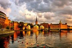 斯德哥尔摩,不眠夜 图库摄影