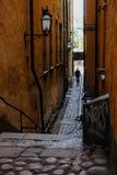 斯德哥尔摩,瑞典一个走的人 免版税库存图片